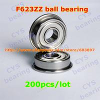 200pcs /lot F623ZZ F623ZZ 3X10X4mm 3*10*4mmF623-2Z flanged metal shielded steel ball bearing