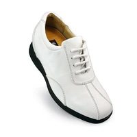Men Elevator Shoes -7386 - Hot sale white golf leather shoes lift height 3.0 inches taller- Free shipping