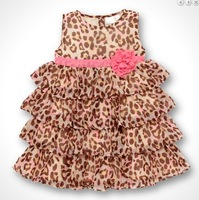 Free shipping Retail 1 PCS 2014 summer new fashion leopard sleeveless baby girls princess chiffon cake dresses with flower belt