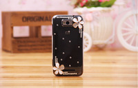 Luxury Fashionable White Flowers Diamond Mobile Phone Rhinestone Protective Case for Xiaomi 1 1S Free Shipping