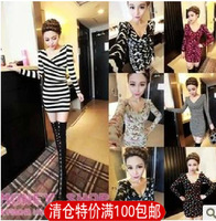 2013 V-neck sexy ladies elegant slim waist knitted basic shirt slim one-piece dress