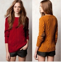 2014  Wholesale  Women's Spring Autumn New Fashion O-neck Long Sleeve 3 Colors Jacquard Pullover Knit Sweater wc95
