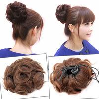 Free shipping  100% Virgin Human Hair Stretch Scrunchie Wrap For Wave Curly Hair Bun Hairpiece