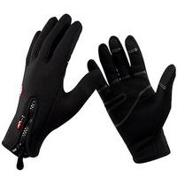 2Pairs/Lot Men Women Gloves Unisex Outdoor Ride  Camping Winter Ride Ski Wind Stopper Fleece Gloves Size:S M L XL Color:Black