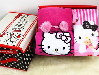 Hello Kitty  Winter New Fashion Women's Pajamas With Slippers House Dress Set 3PCS