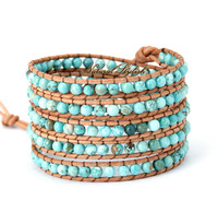 Natural Turquoise 5X Leather Wrap Bracelet Natural Stone Beads Bracelets Women Leather Accessories