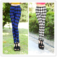 Free Shipping 2013 New Arrival Fashion Woman All-Match diamond square leggings High Elastic Ankle Length Trousers stock W3298