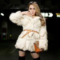 2013 women's quality blue fox fur coat self-shade