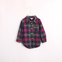 child fashion plaid sanded shirt 4 color boys shirts