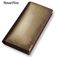 Free Drop Shipping Men's genuine leather wallet long design purse with button SGS REPORT GUARANTEE carteira de couro gift purse