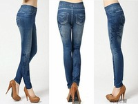 Free shipping 2013 The Korean The notes guitar printing Denim jegging Fashion Slim seamles sexy leggings nine points W3281