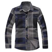 New 2014 Spring and autumn men's clothing slim shirt male plus size long-sleeve plaid shirt male men
