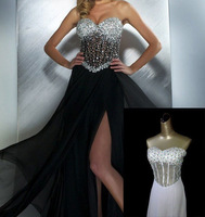 Sexy Charming Black Chiffon Sequin Perspective on boobs Evening Dress Can Be Customize Made Colors And Size
