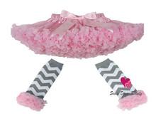 2013 New Free Shipping Super fluffy ruffle chiffon chritmas baby girls tutus skirt children pettiskirt set