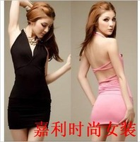 sexy halter-neck vest slim hip one-piece dress formal dress women clothing free shipment
