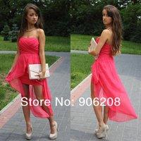 2014 New Fashion  Front Short Long Back Design Homecoming Dresses vestido de festa Sexy Strapless Chiffon Graduation Dresses