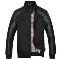 2013 Men's Autumn& Winter Slim Matching PU Jacket Mandarin Collar Black & Coffee Free Shipping Wholesale MWJ160