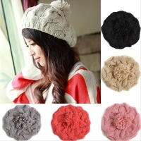 Hot Sale 100% Handmade Women's Warm Winter Beret Braided Baggy Beanies Crochet Hat Ski Cap 7 Colors Free Shipping