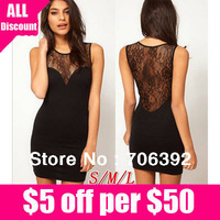 Free Shipping Vestido 2013 perspectivity racerback lace patchwork sexy slim tank dress 1pcs/lot