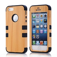 Wholesale Price 3 in 1 Comparable to Wooden Pattern Series Hybrid Case for iPhone 5S 5G cover with Free shipping