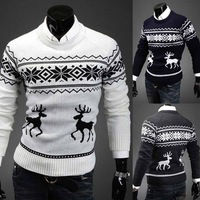 Christmas Mens Slim Fit Casual Reindeer Print Jumper Pullover Basic V-neck Knitwear Sweater 53575
