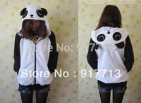 New!! HOT Panda Lovely Japan Ears Face Tail Zip Hoody Sweatshirt Costume cosplay Cute Hoodies Panda,All size S M L XL