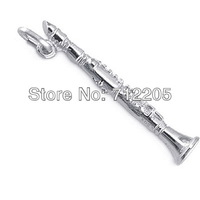free shipping 10pcs a lot  rhodium plated flute charms Musical Instruments jewelry accessory