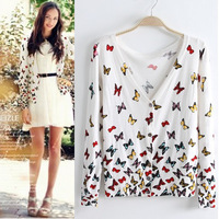 Colorful butterfly printing Slim V-neck women sweater knit cardigan jacket air conditioning cardigan,2080