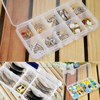 Free shipping Transparent plastic box 10 grids jewelry storage box /jewelry box 4pcs/lot D297