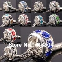 Wholesale Crystal Rhinestone Silver Rondelle Rings European Beads Fit Charm Bracelet