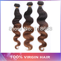 "3-4pcs lot brazilian hair two tone human hair Free shipping 1b/4# ombre hair extension 16"" 18"" 20"" 22"" shedding and tangle free"
