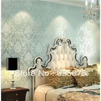 Free ship European living room wallpaper Flocking Classic Glitter Modern Plain Damask Non woven Home Wallpaper Wall Paper Roll