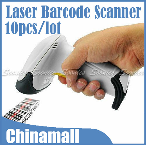 Hot Sale USB Wired Handheld Hand Held Laser Scan Barcode Scanner Reader POS Gun Free Express 10pcs/lot(China (Mainland))