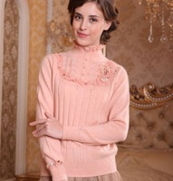 Free shipping, 2013 New Style, Women Cashmere Sweater,100% pure wool, Stand collar sweater, Short, Slim-fitting style
