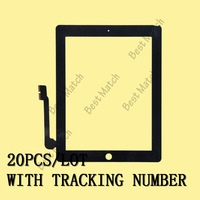 Free DHL shipping 20pcs/lot Factory price Touch screen digitizer glass lens Replacement for Ipad 3 Black with tracking number