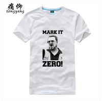 Movie Big Lebowski Mark it zero White Tee Shirt Women Men Male %100 Cotton Short sleeve O-Neck Fashion Red T-Shirt Free Shipping