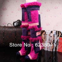 Point Toe 11cm Purple Horsehair Women Knee High Straight Boots Patchwork Winter Warm Punk Long Boots