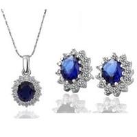 18K Gold White Gold Plated Austrian Crystal Sapphire Rhinestone Fashion Jewelry Sets  1194