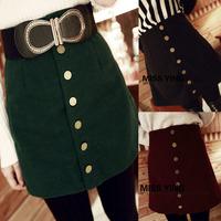Breasted short half-length skirt three-color multi-button a short skirt b2