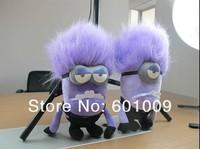 "Free Shipping 2/Lot 2013 New 2 Style JUMBO DESPICABLE ME 2 PURPLE EVIL MINION 3D Eyes PLUSH DOLL 11"" #1 Retail"