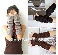 Free Shipping lady's Fasion Winter Knitting Wool Arm Warmer Fingerless long Mitten Gloves