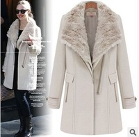 2013 new winter casual long-sleeved thick warm fur collar woolen coat jacket British style