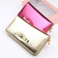 2014 bow decoration genuine leather shiny long design women's cowhide wallet clutch
