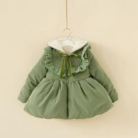 DHL Free shipping wholesale 2013 4pcs/lot girl's lace berber fleece thickening hood cotton-padded jacket winter warm coat
