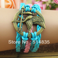 DIY Retro Bronze Hunger Mockingjay Charms Wax Rope Leather Wrap Bracelet Blue