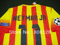 11 NEYMAR JR Thailand Quality barca 10 MESSI soccer jersey player version 13 14 Uniforms Custom UEFA Champions League Red yellow