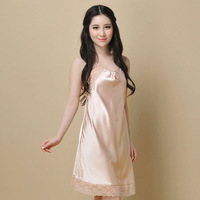 women's faux silk summer sleepwear strap nightgown