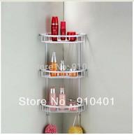 Free Shipping Wholesale Promotion Wall Mounted Bathroom Shower Caddy Shelf Aluminum 3 Tier Basket W/ Dual Hooks
