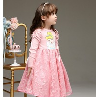 Free Shipping 2013 New Spring&Autumn Children Long Sleeve  Dress Kids Cartoon Princess Lace Dress
