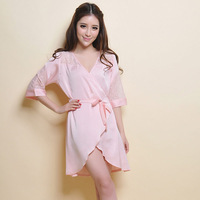 women's lace faux silk one-piece nightgown